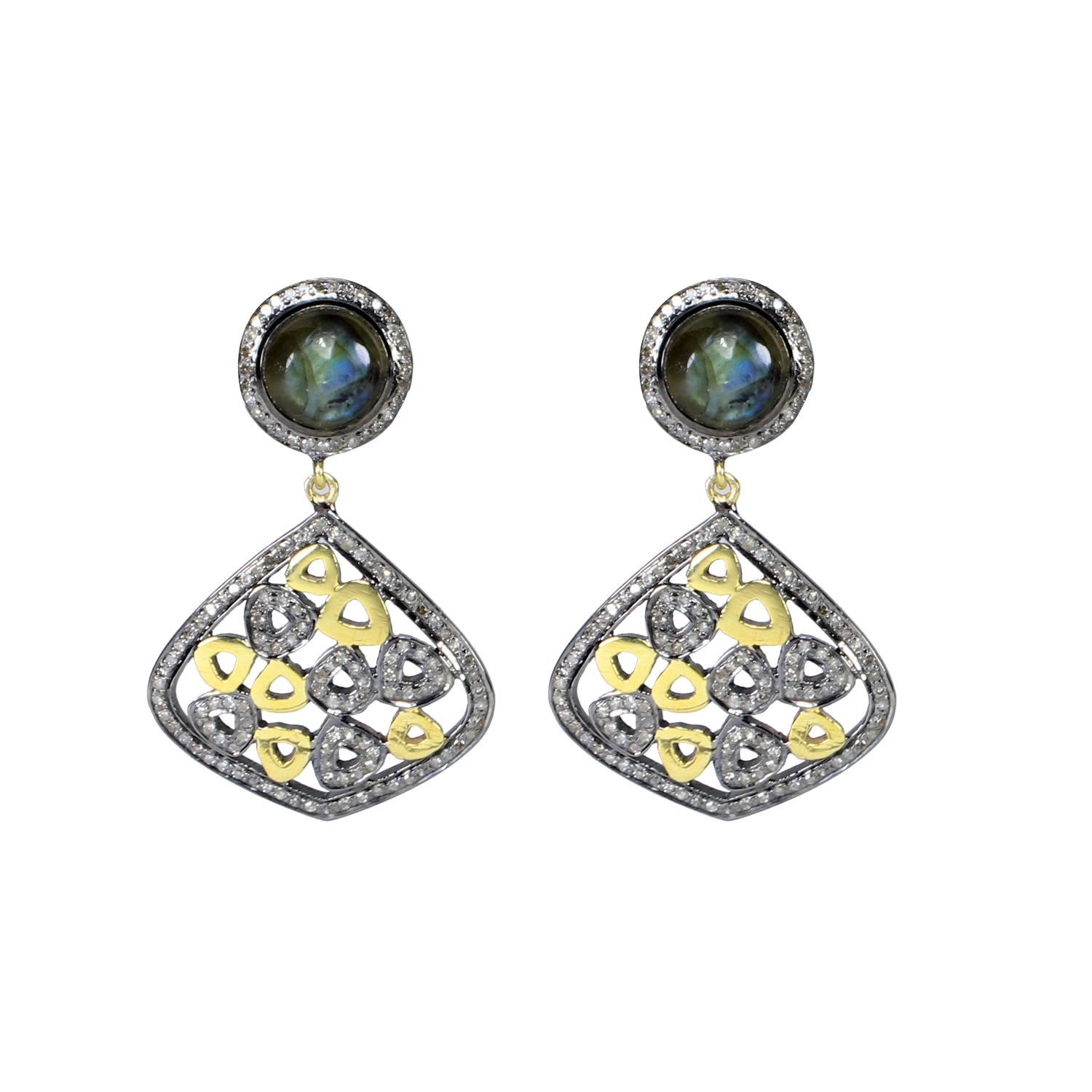 925 STERLING SILVER  EARRING /& NECKLACE PENDANT SET W// 4 CTS LAB DIAMONDS// OPAL